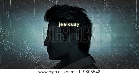 Man Experiencing Jealousy as a Personal Challenge Concept