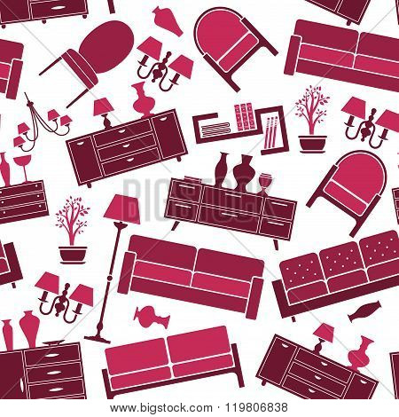 Seamless pattern of interior and furniture