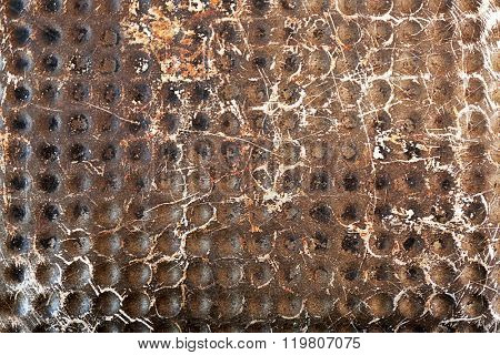 Silver dotted metal background, close up