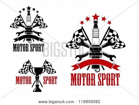 Motor race icons with trophy and spark plug