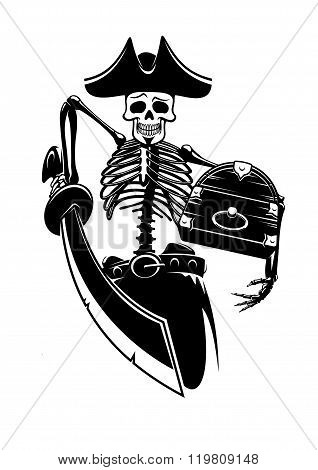 Pirate skeleton with treasures and sword