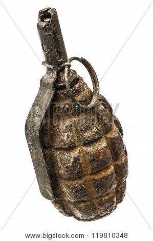 Old Combat Grenade Isolated On A White Background