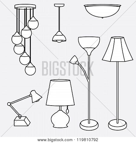 vector of lamp set ceiling table desk and floor lamp