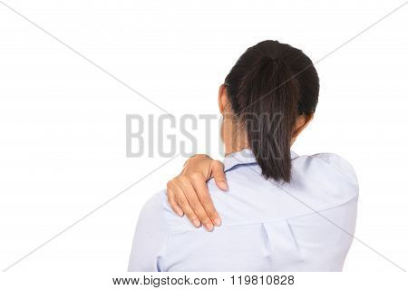 Business Woman Has Shoulder Pain