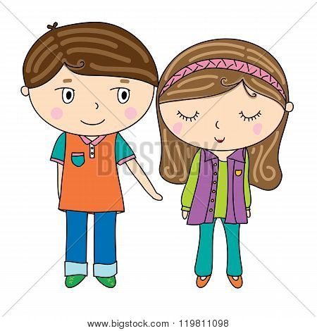 illustration of cute boy and pretty girl