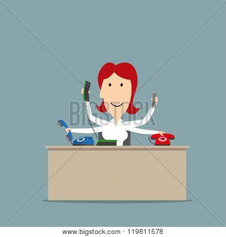 Multitasking secretary talking on several phones