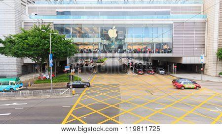 HONG KONG - DECEMBER 13, 2015: Apple store in Hong Kong. Hong Kong, is an autonomous territory on the southern coast of China at the Pearl River Estuary and the South China Sea
