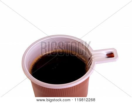 plastic brown glass with coffee