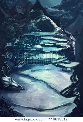 Watercolor Cartoon Illustration Of A Dark Scary Cave Entrance Path Through The Rocky Mountain Landsc