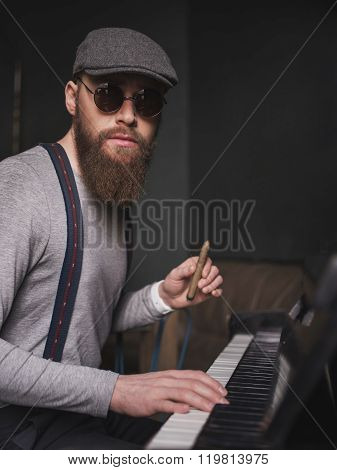 Cheerful young musician with cool retro style
