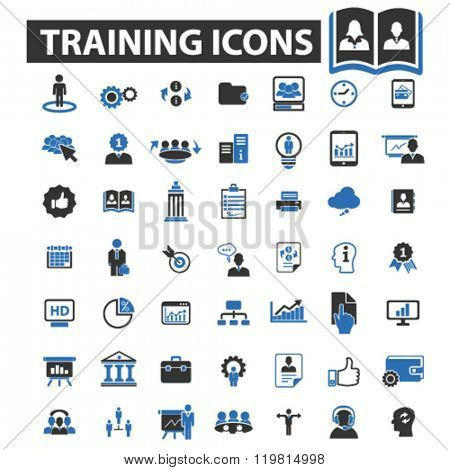 training icons, training logo, training vector, training flat illustration concept, training infographics, training symbols,