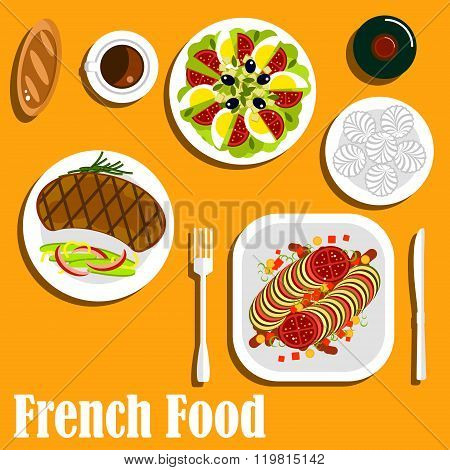French cuisine main course and desserts