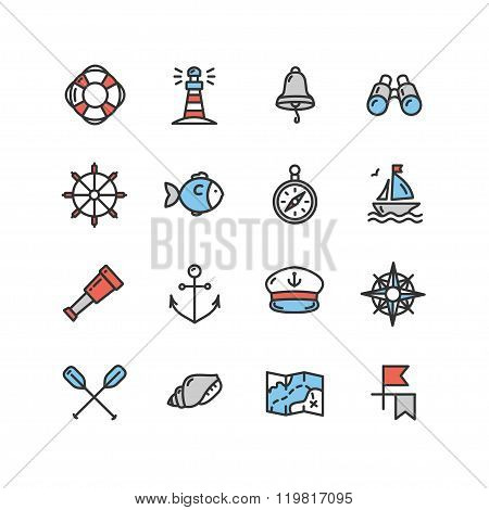 Nautical Sea Icon Set. Vector