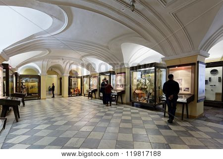 ST. PETERSBURG, RUSSIA - FEBRUARY 20, 2016: Tourists in the Museum of Anthropology and Ethnography in the Kunstkamera building. Established by Peter the Great, it was the first Russian museum