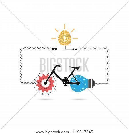 Creative Bicycle Logo Vector Design With Gear Sign And Light Bulb Symbol.bicycle Rider Silhouette Si