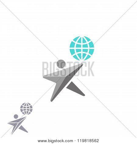 Human Shape Star Logo Globe, Creative Ecology Earth Emblem, Graphic Internet Network Browser Technol