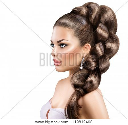 Hair Braid. Beautiful Woman with Healthy Long Hair. Hairdressing. Plait Hairstyle. Beauty fashion girl with perfect make up posing over white background, Healthy skin and long shiny hair
