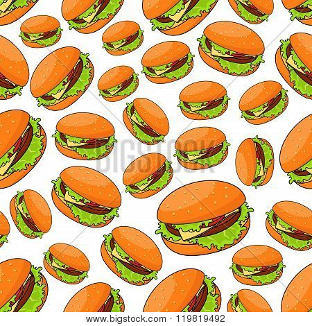 Seamless fast food pattern with burgers