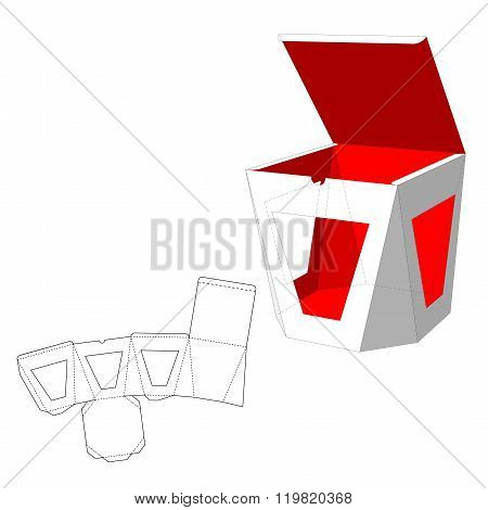 Box with windows Die Cut Template. Packing box For Food, Gift Or Other Products. On White Background