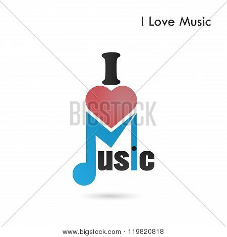 Creative Music Note Abstract Vector Logo Design. Musical Creative Logotype Symbol. I Love Music Conc