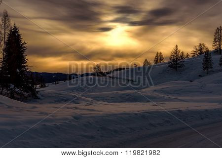 Mountain Sunset Snow Sun Winter