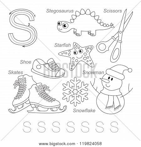 Tracing Worksheet for children. Full english alphabet from A to Z pictures for letter S the colorless version.