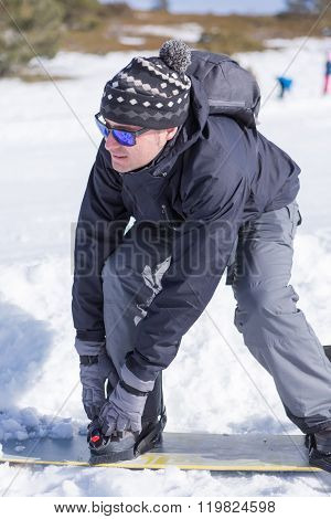 Close-up Of Man Wearing Snowboard