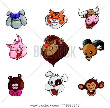 Animal Head Collection : Buffalo,Pig,Monkey,Goat,Lion, Tiger,Bear,Bulldog, Cow & Dog