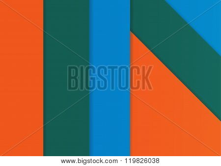 Background Modern Material Design With Green, Blue And Orange Colors. Vector Illustration Design.
