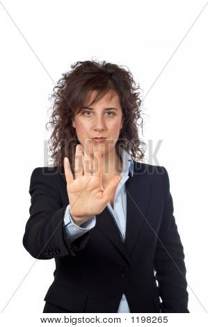 Business Woman Saying Stop