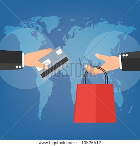 Businessman Red Holding Shopping Bag And Credit Card For Online Shopping On World Map Background. Ve