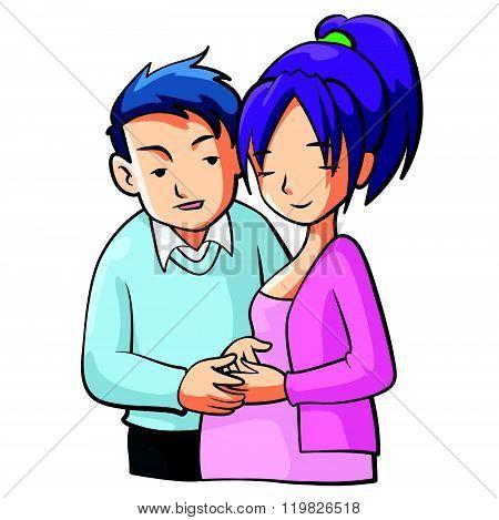 Pregnant Mom Cartooon Illustration