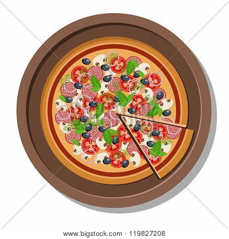 Pizza on a plate vector illustration.