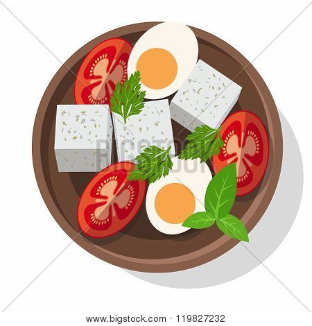 Fresh salad with cheese, eggs, tomatoes and greens.