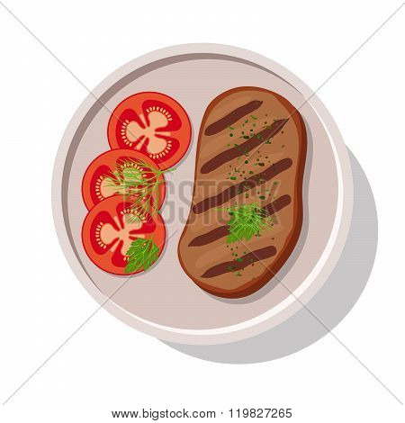 Grilled meat steak with tomatoes.