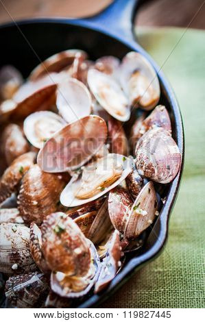 Cast Iron Skillet Of Delicious Fresh Steamer Clams With Garlic And Basil On Rustic Wooden Background