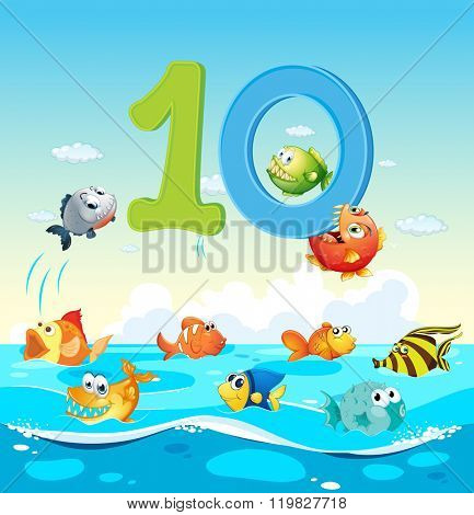 Number ten with 10 fish in the ocean illustration