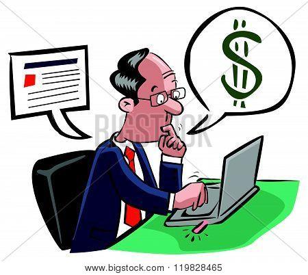 Business man online transaction