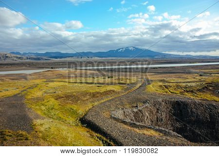 Iceland landscape with rivers and mountains