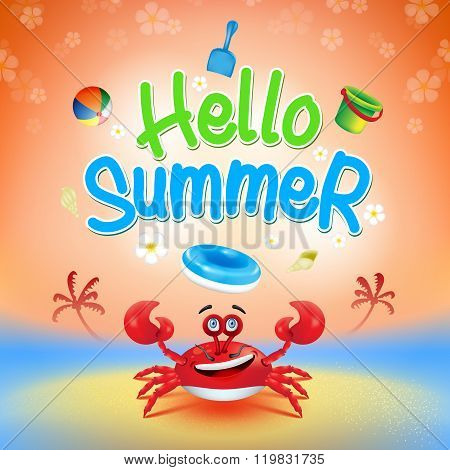 Hello Summer Title with 3d Cartoon Red Crab Elements