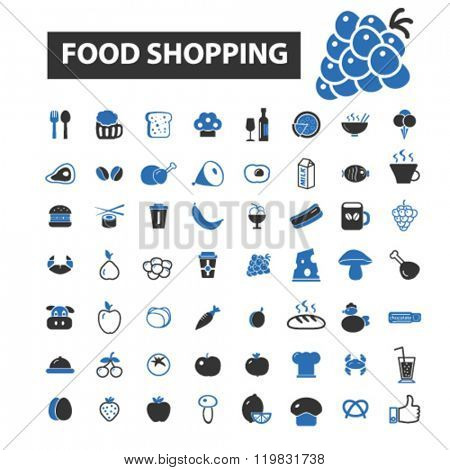 food shopping icons, food shopping logo, food shopping vector, food shopping flat illustration concept, food shopping infographics, food shopping symbols,