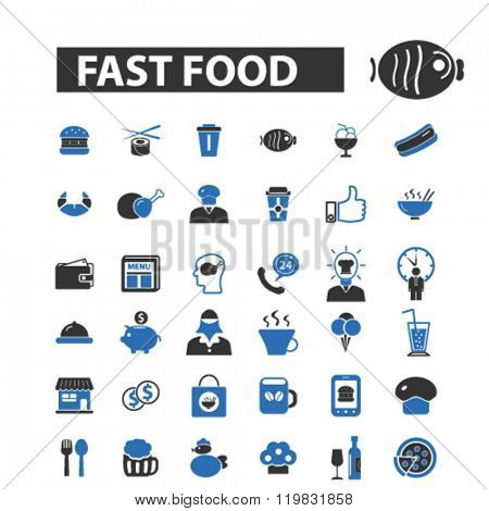 fast food icons, fast food logo, fast food vector, fast food flat illustration concept, fast food infographics, fast food symbols,