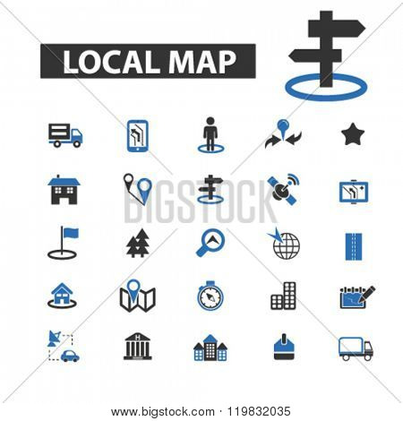 local map icons, local map logo, local map vector, local map flat illustration concept, local map infographics, local map symbols,
