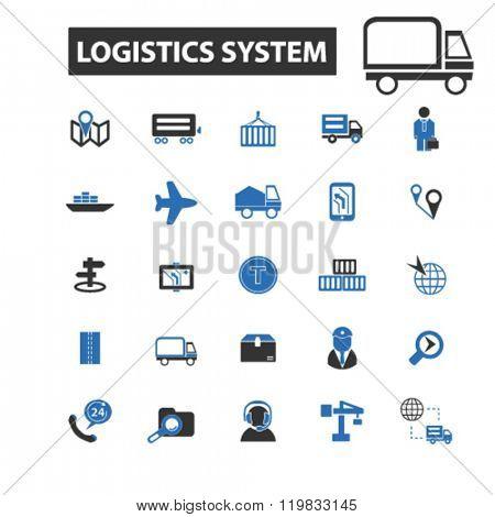 logistics system icons, logistics system logo, logistics system vector, logistics system flat illustration concept, logistics system infographics, logistics system symbols,