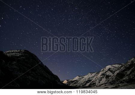 Mountains Star Tracks Sky Snow