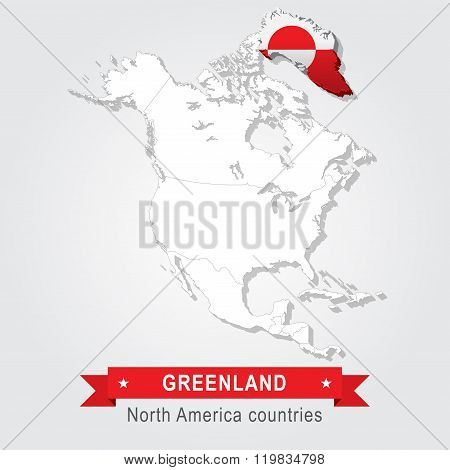 Greenland. All the countries of North America. Flag version.