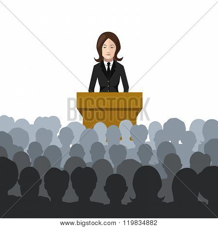 Woman holds a lecture to an audience flat illustration