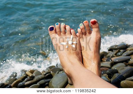 Vacation Holidays. Woman Feet Closeup Of Girl Relaxing On Beach On Sunbed Enjoying Sun On Sunny Summ