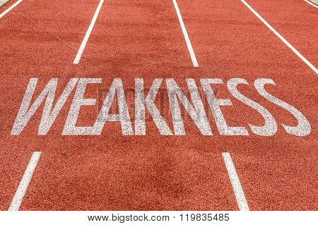 Weakness written on running track