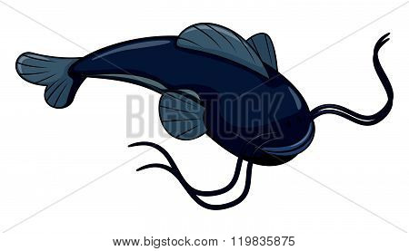 Catfish cartoon illustration isolated white